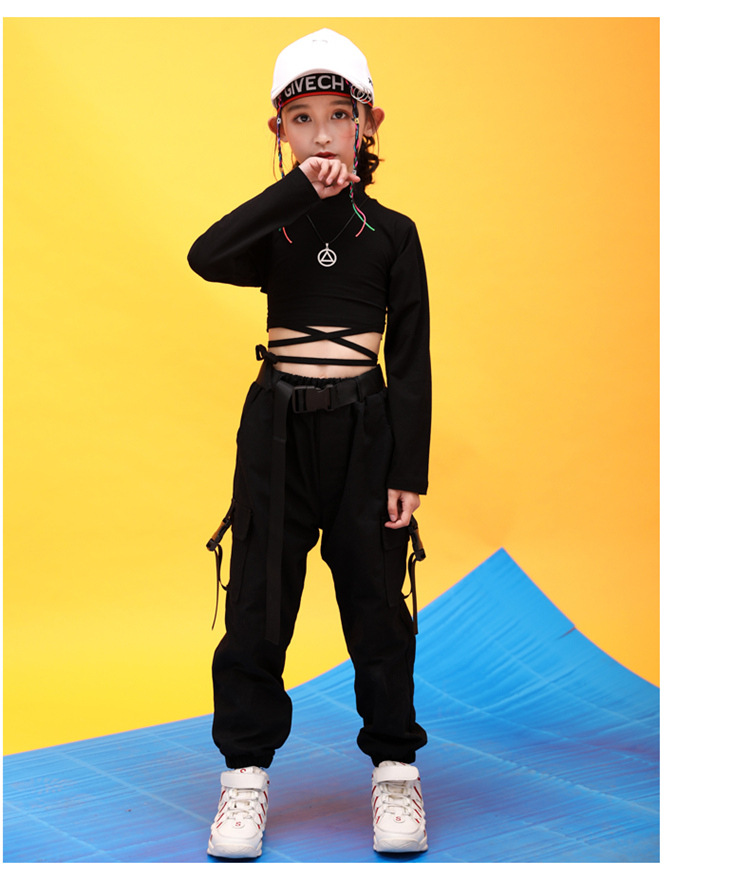 Kids Hip Hop Clothing High Neck Sweatshirt Shirt Top Crop Black Running Casual Pants for Girl Jazz Dance Costume Dancing Clothes