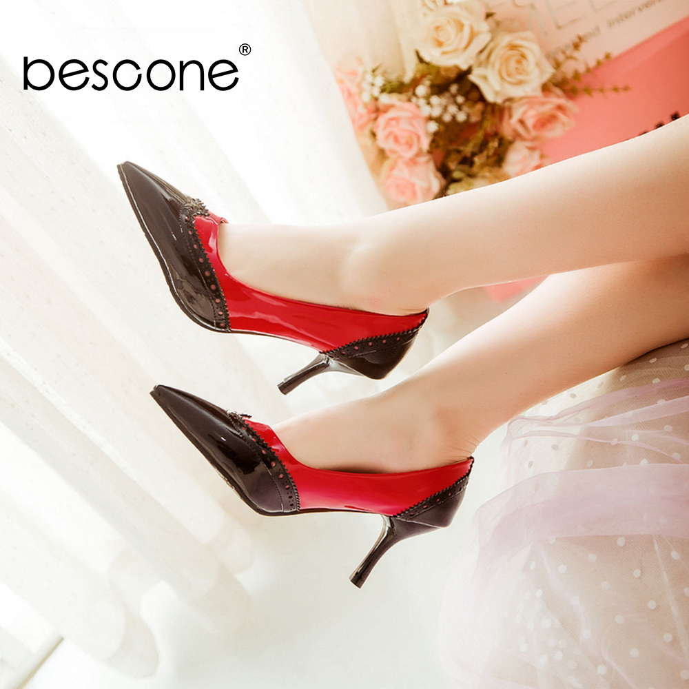 Image 4 - BESCONE Sexy Pointed Toe Ladies Pumps High Quality Patent Leather Shallow Thin Heel Shoes New Fashion Dress Women Pumps BM297Womens Pumps   -
