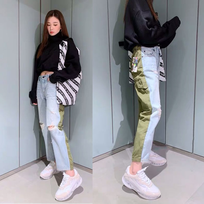 2020 Spring Summer Women's Light Blue / Army Green Patchwork Spliced Jeans Pencil Pants With Holes  A2