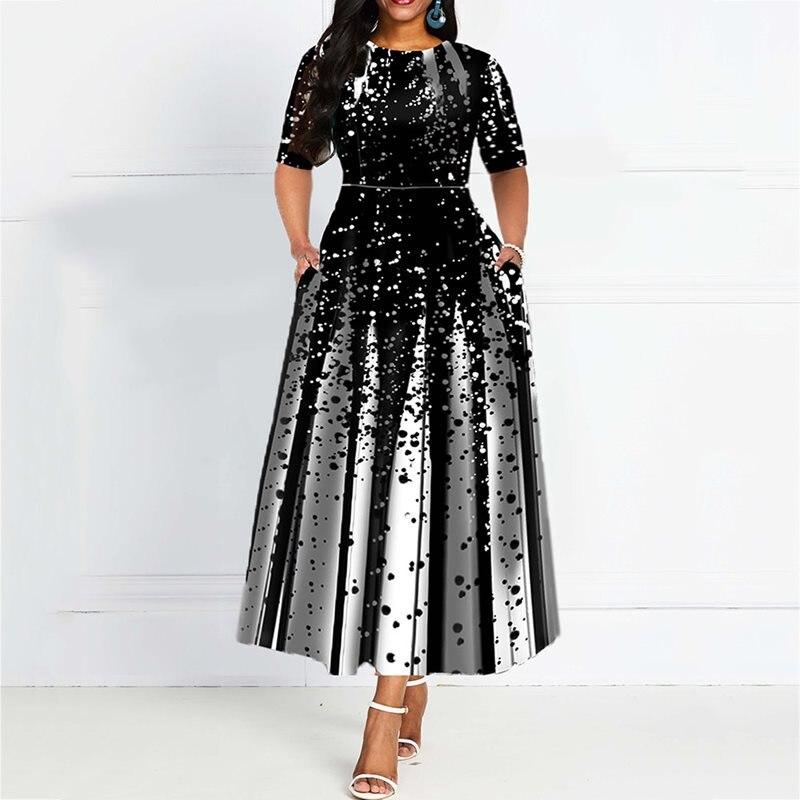 Fashion Women Half Sleeve Elegant Round Neck Boho Bandage Print Long Midi Dress Ladies Casual Slim Ladies Dress