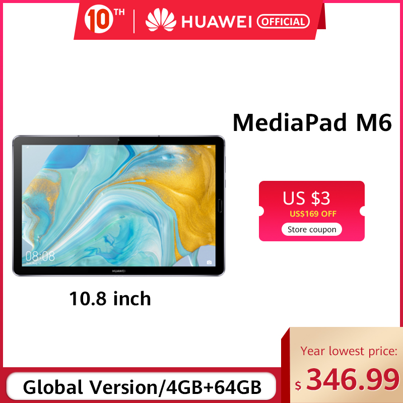 Original Huawei Mediapad M6 10.8 Inch 4GB 64GB WIFI Kirin 980 Octa Core Android 9.0 Tablet Type-C Google Play GPU Turbo 3.0