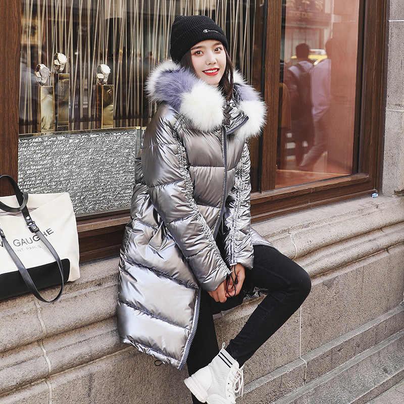 Schwarz Glänzend Frauen Winter Jacke Große Pelz Kragen Winter Mantel Frauen Unten Parka Dame Mit Kapuze Parkas Warme Baumwolle Jacken