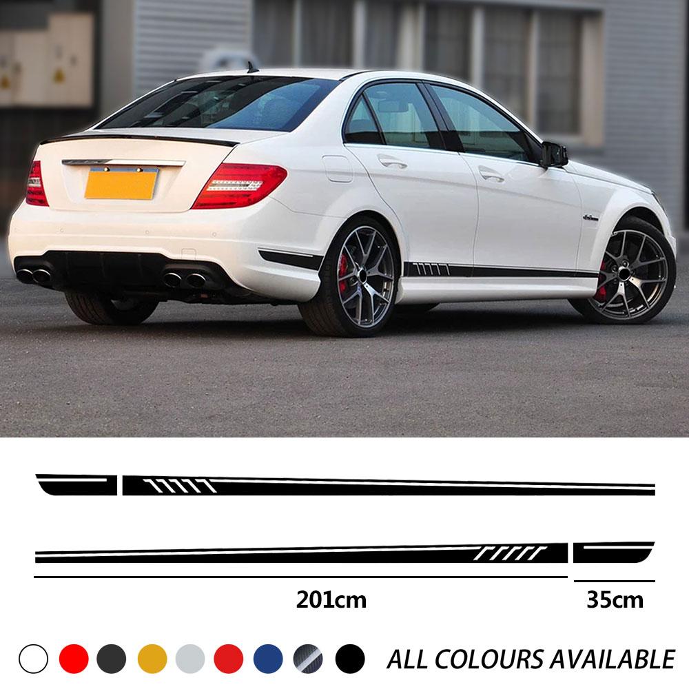 Версия 1 507 стильная Автомобильная дверь боковая юбка в полоску наклейка на тело наклейка для Mercedes Benz C Class W204 C63 coupe S204 AMG аксессуары