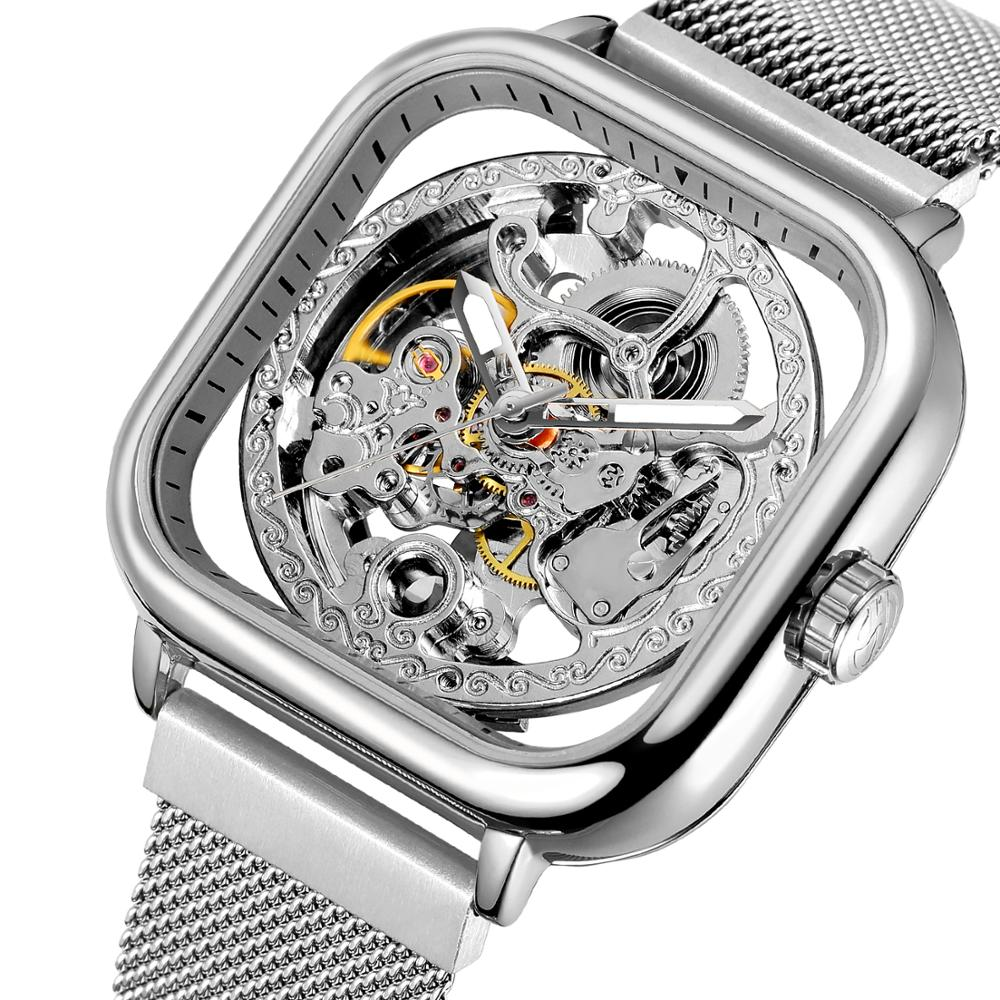Forsining Watches For Mens Automatic Mechanical Fashion Dress Square Skeleton Wrist Watch Slim Mesh Steel Band Analog Clock