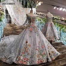 LS00147 long evening dress 2020 lace up back appliques grey mother daughter gowns with detachable cape vestido longo de festa