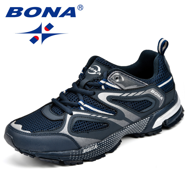 BONA Brand Cow Split Leather + Mesh Breathable Outdoor Sport Shoes For Men Fashion Causal Running Shoes Low Tops Sneakers