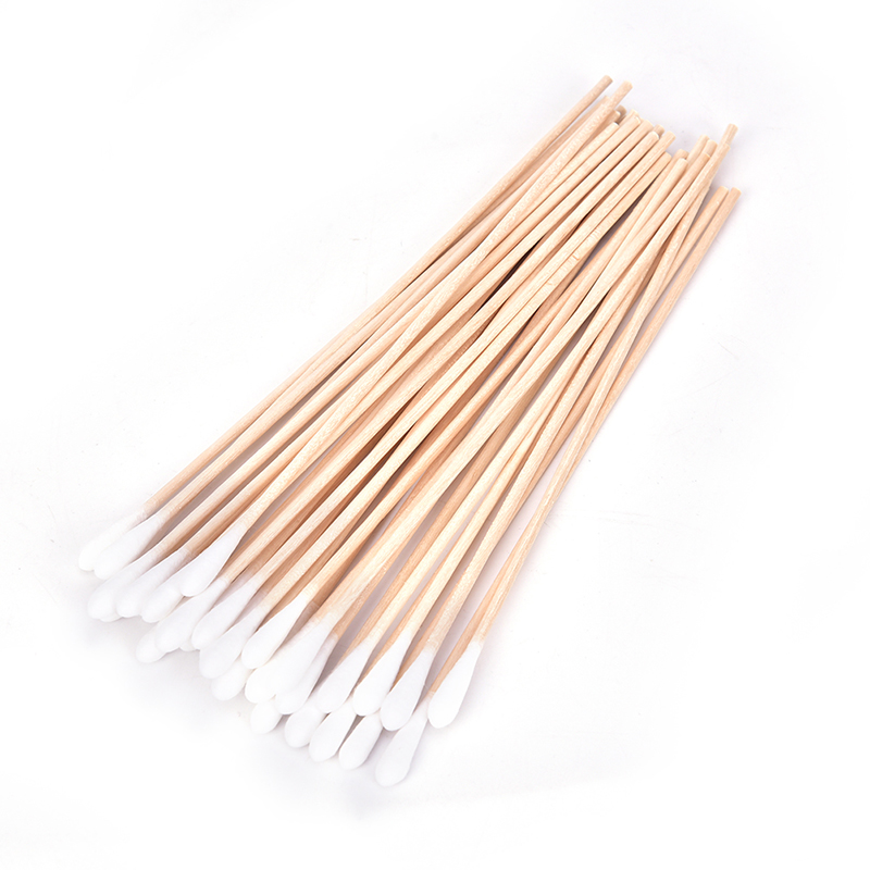 100pc Disposable Cotton Head Swab Wooden Handle Ear Buds Tips Makeup Cosmetic Tool