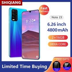 Global Version SOYES Note 23 Mobile Phone 6.26 Inch Hexa Core Smartphone 4800mAh 2GB RAM 16GB ROM Full Screen 5+13MP Cell Phones