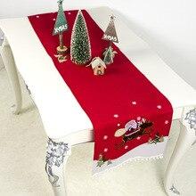 Новые рождественские украшения ткань мультфильм вышивка Санта Клаус настольный бегун с изображением снежного лося скатерть 40*180 см