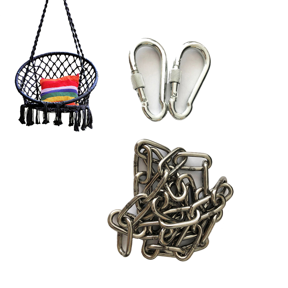 Tree Swing Ropes Hammock Chair Straps Hanging Kit With 2 Carabiners Stainless Steel Chain For Children Swing