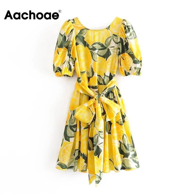 Aachoae Boho Floral Dress Women O Neck Bandage Beach Dress Back Deep V Sexy Party Dress Summer Lantern Sleeve Cotton Mini Dress
