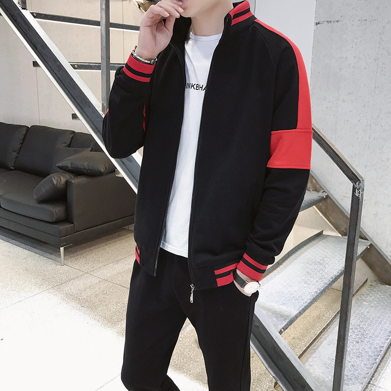 Autumn New Style Men Leisure Set Long-sleeved Coat Sports Set Men's Slim Fit Two-Piece Set Youth Sports Clothing