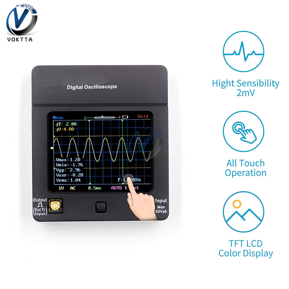 TFT Oscilloscope Digital Wave Display Touch Screen Portatil USB Oscilloscope Interface 2Mhz 5Msps Multimeter