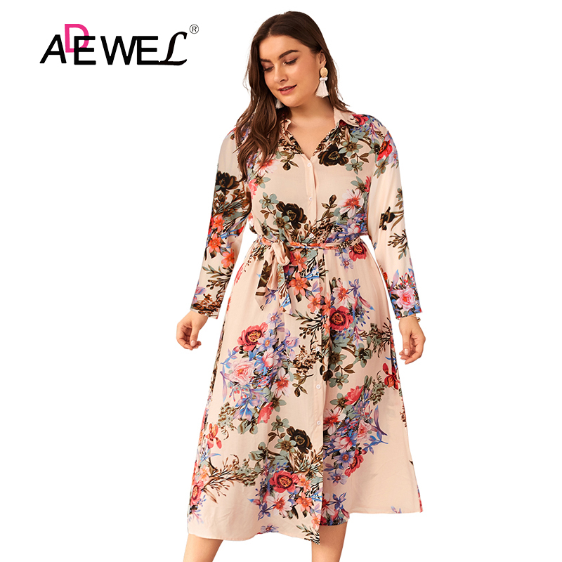 SEBOWEL Sexy Apricot Green Sunflower Print Plus Size Long Sleeve Women Dress Bestidos <font><b>Mujer</b></font> 2019 Envio Gratis <font><b>Tallas</b></font> Grandes <font><b>4XL</b></font> image