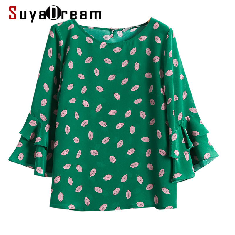 SuyaDream Women Summer Blouses 100%Real Silk Lips Printed Butterfly Sleeved O neck Blouse Shirt 2020 Plus sizes Casual Top