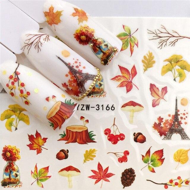 Купить наклейки для ногтей morixi на хэллоуин тыква животные паук кленовые картинки цена