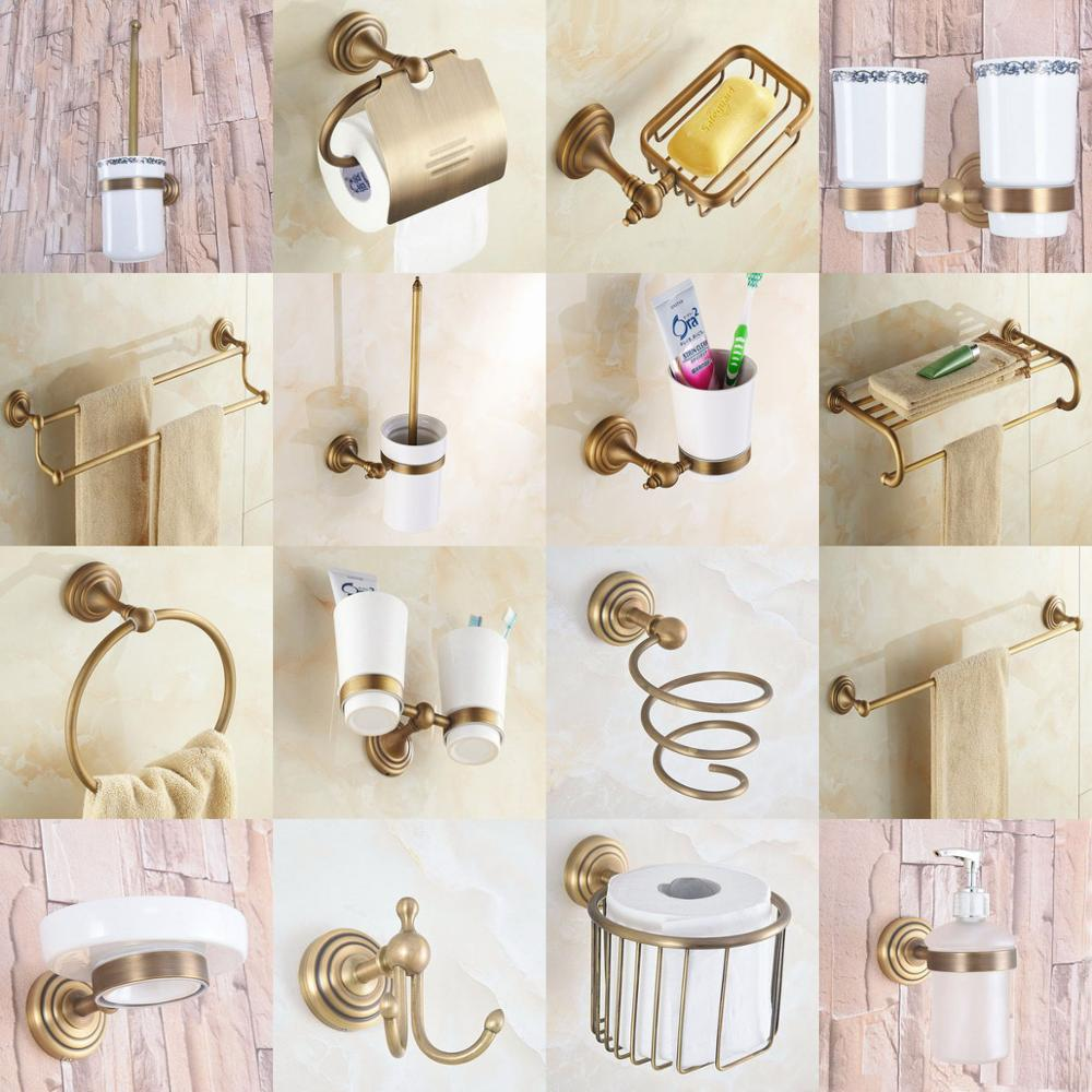 Vintage Toilet Paper Holder Towel Roll Storage Bathroom Wall Mount Bath Rack Kit