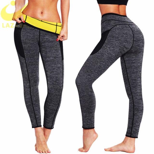 LAZAWG ผู้หญิงเอวเทรนเนอร์ร้อนซาวน่าเหงื่อกางเกง Neoprene Slimming Body Shaper GYM Workout กางเกง Tummy ควบคุมกางเกง