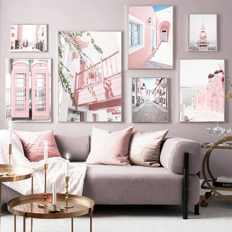 Pembe telefon kulübesi okyanus sokak ağacı kulesi duvar sanatı tuval yağlıboya İskandinav posterler ve baskılar duvar resimleri için oturma odası