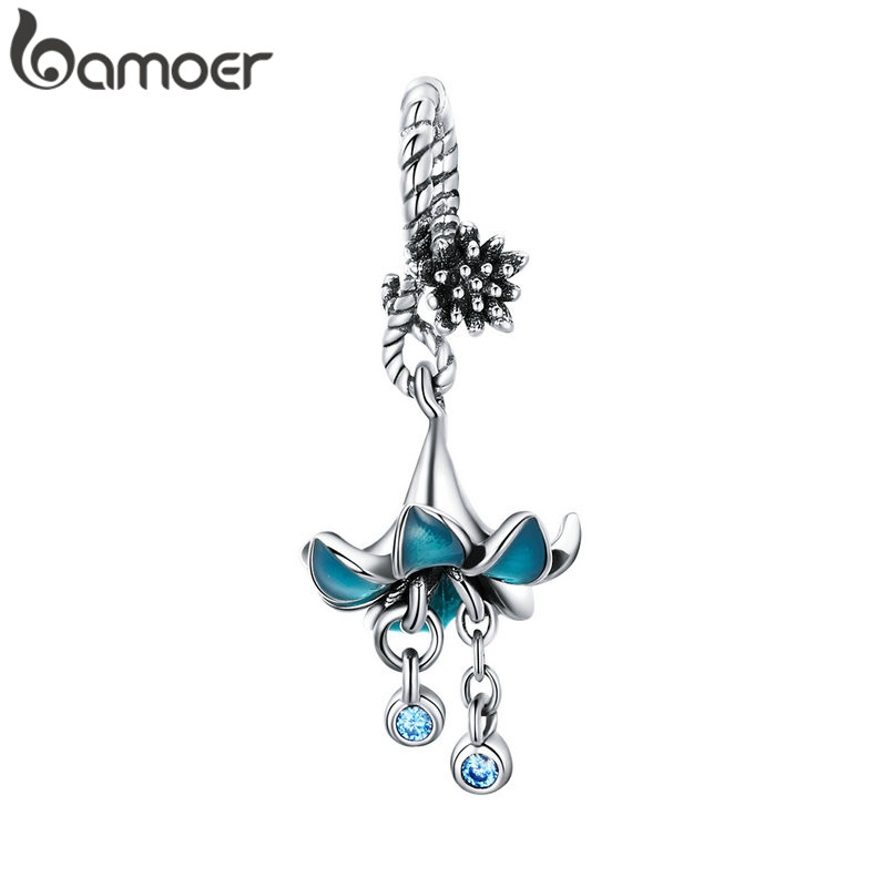 BAMOER Authentic 925 Sterling Silver Blue Enamel Flower Pendant Charms fit Silver Bracelets & Bangles 925 Silver Jewelry BSC034(China)