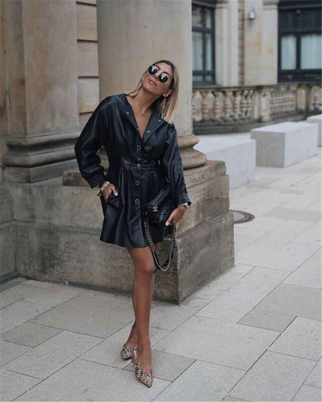 秋の女性スリムクールな女性 Pu レザージャケット甘い女性ジッパーフェイクファム生き抜くコートプラスサイズ