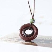 Vintage Long Necklace Fashion Handmade Jewelry Wearing Rope Leather Ceramic beads  Wood Circle Charm Pendant
