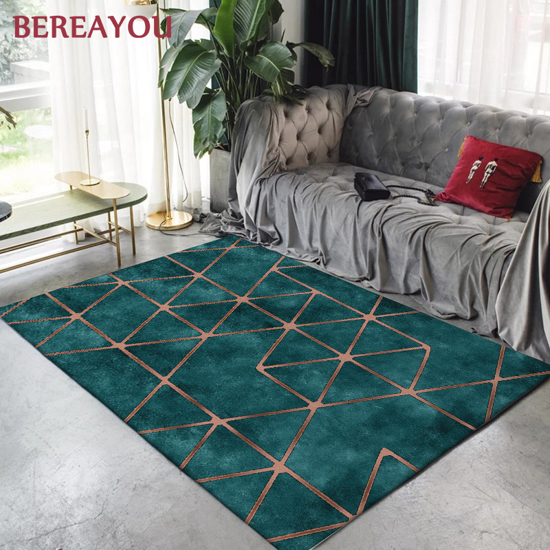 Luxury Rugs For Kids Bedroom Abstract Green Gold Carpet Home Living Room Bedside Flool Mat Modern Rectangle Kitchen Hallway Rug
