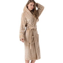 Women Night Hooded Midi Flannel Dressing Gown Long Sleeve Solid Belt Autumn Winter Pockets Luxury Warm Shimmer Bath(China)