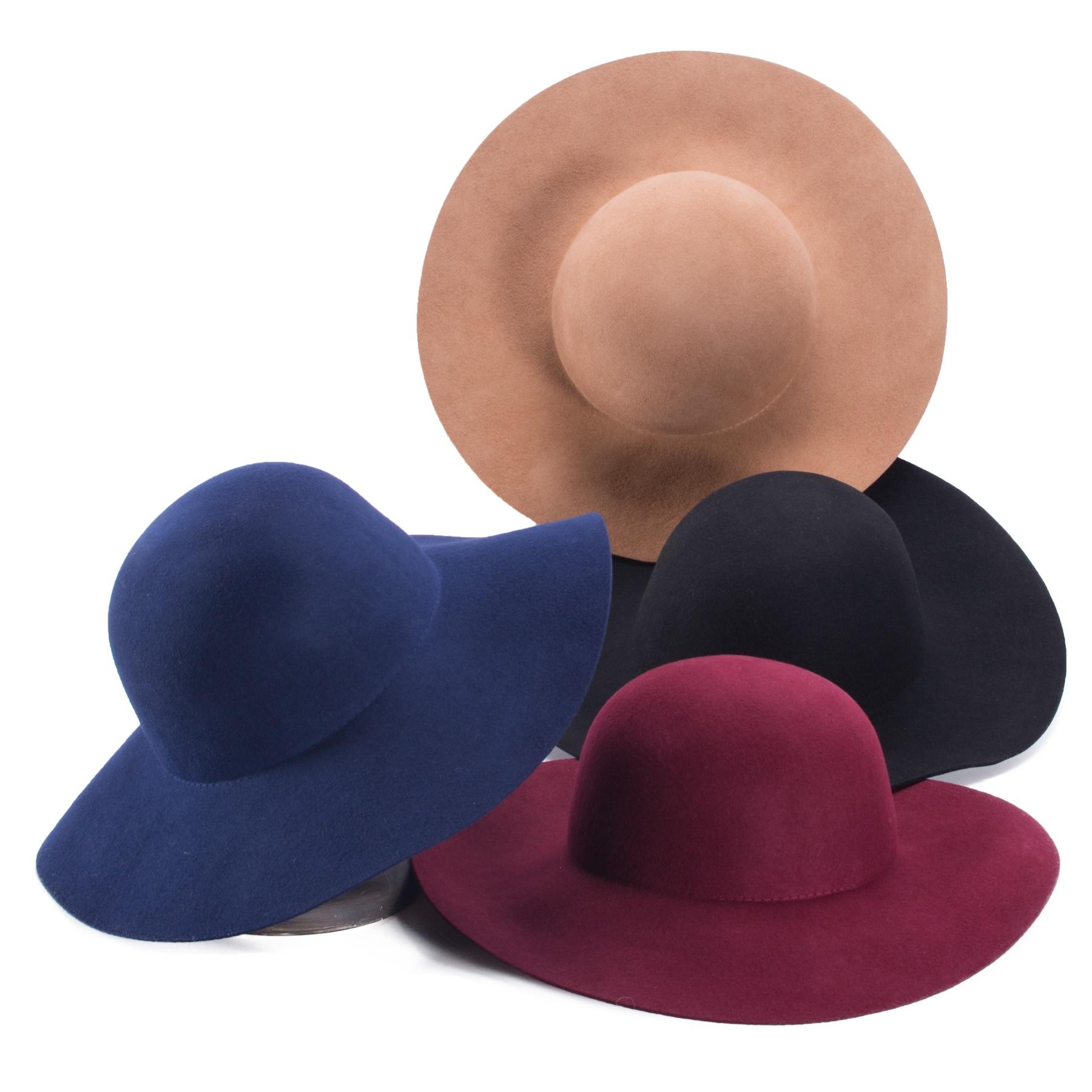 Lawliet Womens Floppy Blocked Untrimmed Wide Brim Wool Felt Hat Base Millinery Making T400