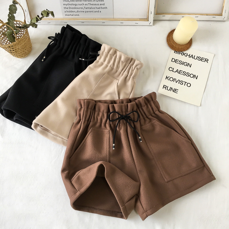Dropshipping Autumn Winter High Waist Women Shorts Solid Casual Loose Thick Warm Elastic Straight Booty Shorts With Pockets