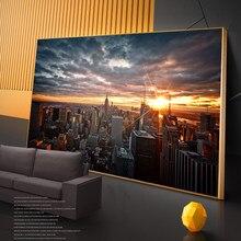Nowy jork zachód słońca zobacz obrazy na ścianie plakaty i wydruki artystyczne Skline of Manhattan zdjęcia ścienny Home Decoration