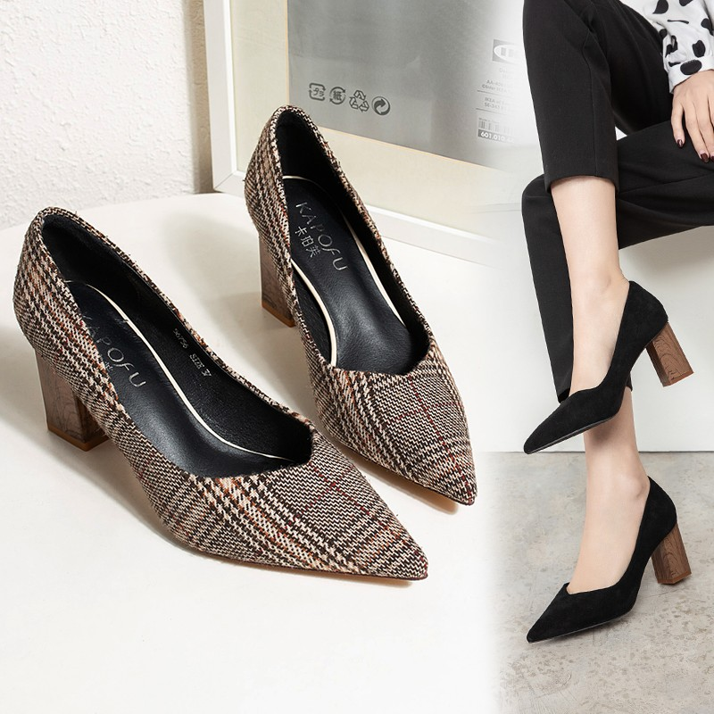 2020 New Thick With Houndstooth Shallow Mouth Single Shoes Women Pointed Fashion Shoes