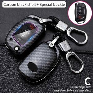 Carbon Fiber Key Case Car Cover For Hyundai Tucson TL Sonata Ix35 I40 I20 Creta Santa Fe GLS SPORT Elantra Key Cover Case Fob