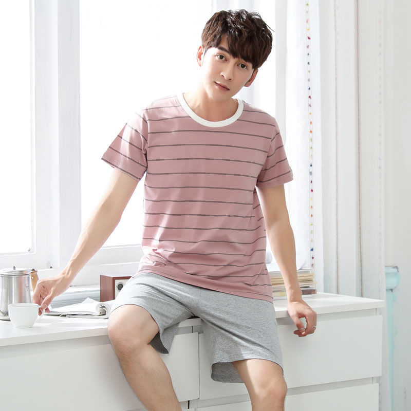 Casual Striped Cotton Pajamas Sets For Men 2019 Summer Short Sleeve Sleepwear Male Pyjama Homewear Pijama Hombre Lounge Clothes