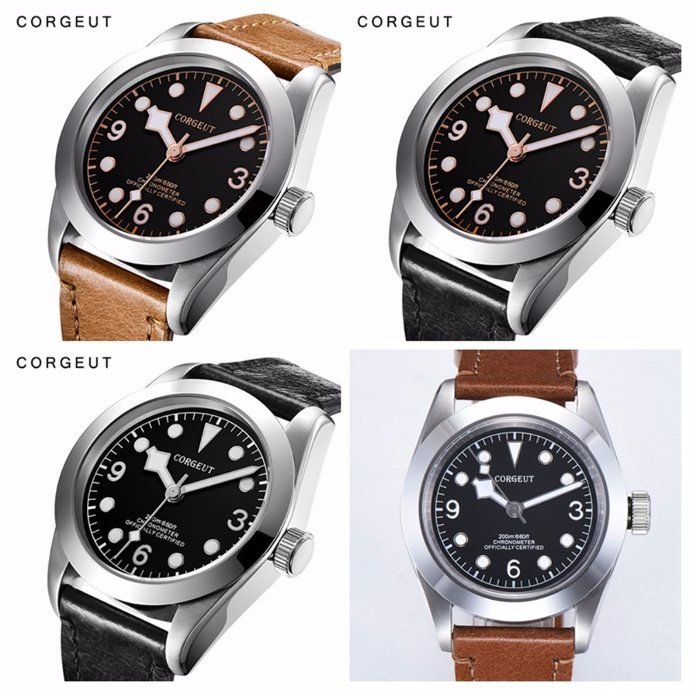 Corgeut Military Luminous Mechanical Watch Men Automatic Luxury Brand Sport Design Clock Leather Mechanical Wrist Watches