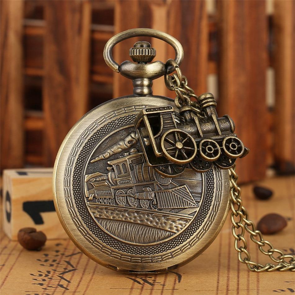 Antique Bronze Train Quartz Pocket Watch Full Hunter Vintage Necklace Watch Collection Retro Clock Gifts For Men Women Kids