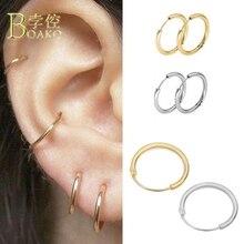 BOAKO 3 Pairs/Set Small Hoop Earrings For Women/Men Ear Bone Piercing brinco Gothic Punk Girl aretes ear hoops B5