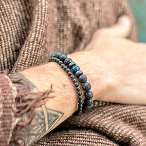 men bracelet/beads braclets/lava/natural/homme/fashion/bangles Bracelet Men Wooden bead Accessorie Jewelry male Customized Gift(China)