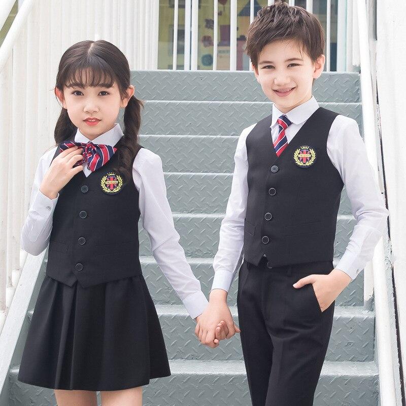 Printemps automne angleterre Style enfants uniformes scolaires 5 pièces ensembles gilet + chemises + garçons pantalons filles jupes + cravate + Badge enfants tenue 3-15T