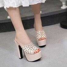 Sexy Sandals Platform High-Heel Slippers Models Thick Breathable Nightclub LTARTA ZYW-303-79