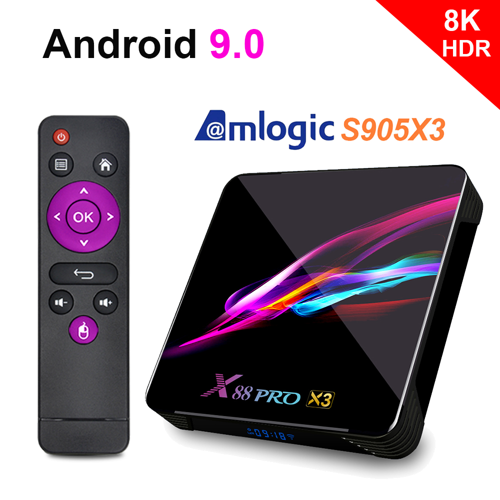 2020 NUOVO Amlogic S905x3 Android TV Box Netflix Youtube HD 8K TV Box Android 9.0 LEMADO Smart TV Box 9 X88 Pro X3 per la Spagna