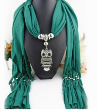 DANIELS New Women Necklace Scarves Animal Owl Pendant Jewelry Tassels Scarf Shawl Wrap Creative Free Shipping