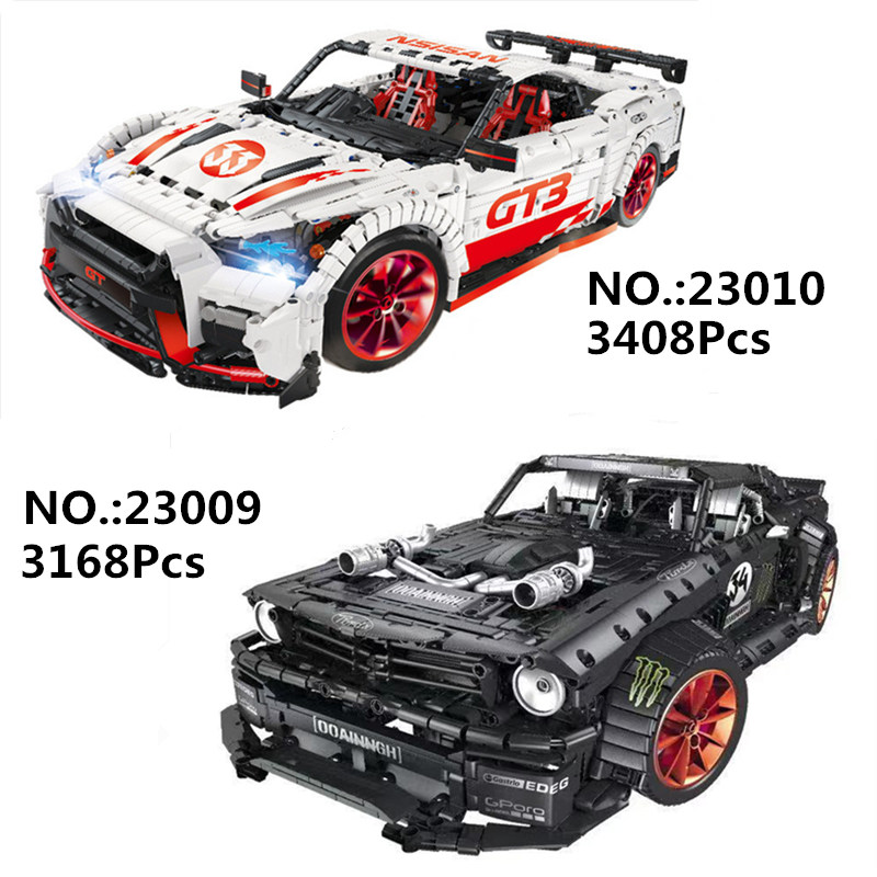 IN STOCK 23009 23010 Ford Mustang Hoonicorn GTR V2 Racing Car Technic Lepines MOC-22970 25326 Building Block Bricks Kids Toy