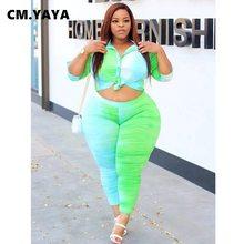 CM.YAYA Aktive Plus Größe L-5XL Tie Dye Frauen Set Langarm Bluse Hosen Passenden Set Trainingsanzug Fitness Zwei 2 Stück set Outfit