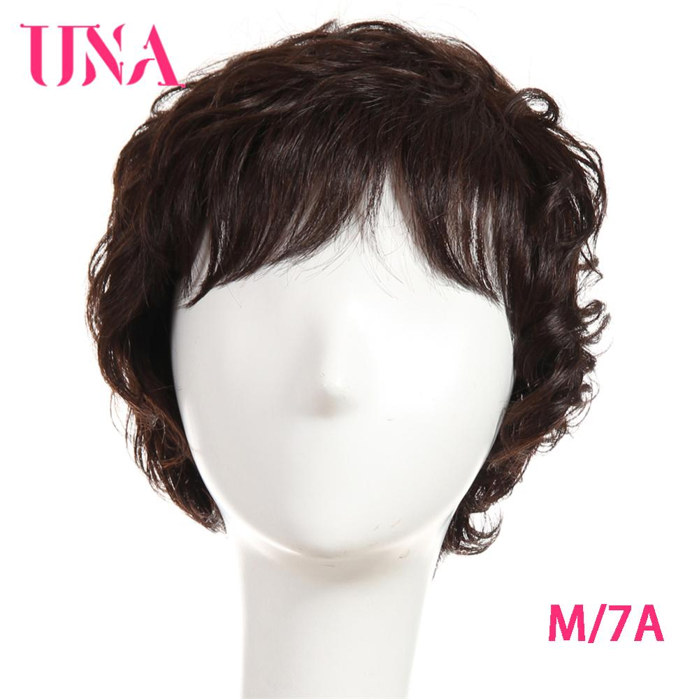 UNA Malaysia Human Hair Machine Wigs For Women Sparkle Curl Wig Non-Remy Human Hair 7A Middle Ratio 120% Density 70g 6