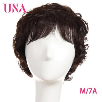UNA Malaysia Human Hair Machine Wigs For Women Sparkle Curl Wig Non-Remy Human Hair 7A Middle Ratio 120% Density 70g 6 una short malaysia human hair wigs for women sassy curly non remy human hair 120