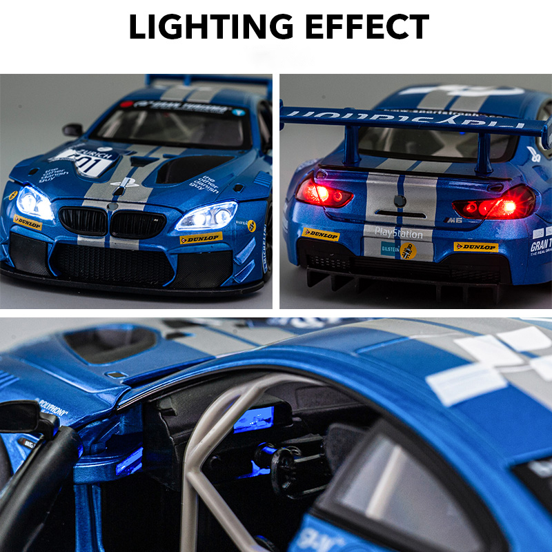 1:24 M6 GT3 M4 DTM Le Mans Racing Car Free Wheeling High Light Sport Racing Car Model Toy Diecast Metal Alloy Miniature Replica 4