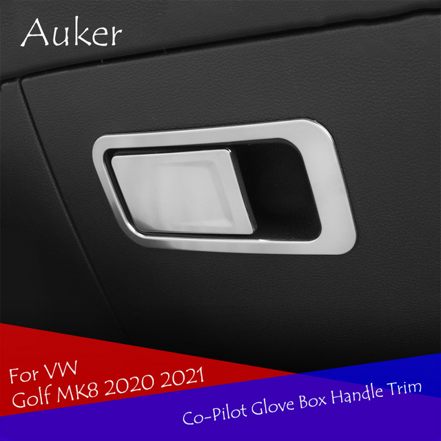 Car co pilot Storage Glove Box Handle Frame Stickers Car Cover Styling 2Pcs/Set For VW Golf 8 MK8 2020 2021 Accessories