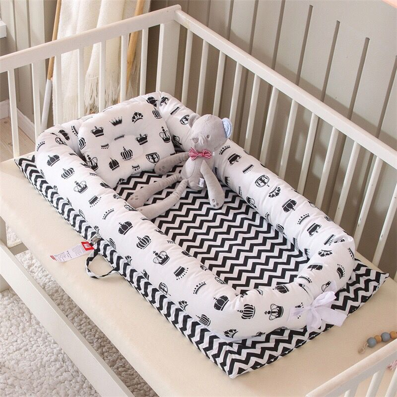 Baby Nest Bed with Pillow Crib Boys Girls Travel Bed Infant Toddler Cotton Cradle for Newborn Baby Bed Bassinet Bumper