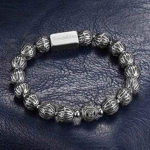 Image 4 - Trendsmax 10mm lüks 925 ayar gümüş boncuk bilezik erkekler kadınlar için streç enerji bilezik erkek hediye TBB021